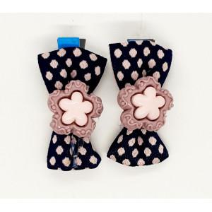 Bow Hair Clip With Flower -...